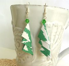Green and WhiteTriangle Origami Earrings  by PaperImaginations