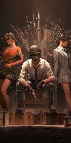 PUBG, Helmet guy with girls, guns throne, video game, 1080x2160 wallpaper