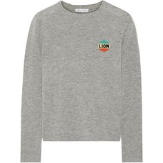 Bella FreudLion Intarsia Wool And Cashmere-blend Sweater (€345) ❤ liked on Polyvore featuring tops, sweaters, grey, bella freud, woven top, gray top, grey sweater and wool tops