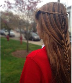 this is really cute! #hairstyle #waterfall #braid into #frenchbraid #half #updo
