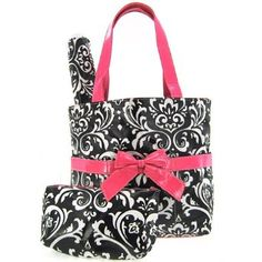 Damask Print Laminated Diaper Bag Tote Purse 3 Piece Set