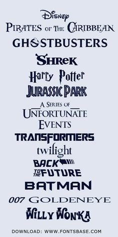 Movie fonts from FontsBase.com