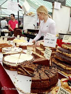 This cake stall from Broadway market in london looks so inviting because it is generously stacked with lots of inviting products with clear and simple pricing too. All the cakes are cut ready to serve so the customer can see that buying will be quick and easy