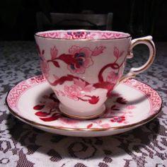 TUSCAN CRANBERRY TURQUOISE FLORAL DESIGN BONE CHINA TEA CUP AND SAUCER ENGLAND | eBay