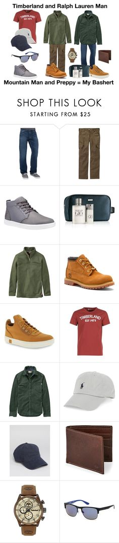 """Love That Man Of Mine....."" by thecharmingmagnolia-etsy ❤ liked on Polyvore featuring Lucky Brand, Timberland PRO, Timberland, Giorgio Armani, Polo Ralph Lauren, men's fashion and menswear"
