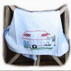 Glamping Camper  Large Dish Towel Custom Design by RetroBrenda, $25.95