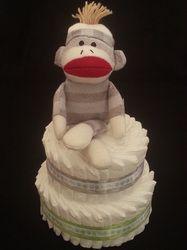2-Tier Basic Diaper Cake w/ Sock Monkey