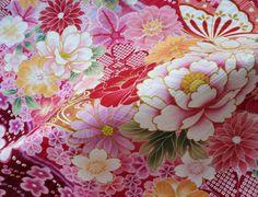 Kimono silk fabric japanese silk pink floral by japanmomijidesigns
