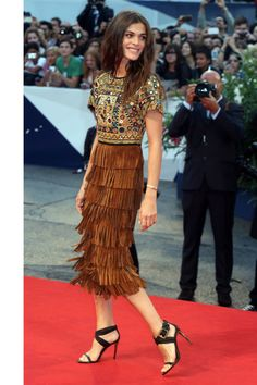 Elisa Sednaoui at the 2015 Venice Film Festival. See all the stars' gowns, dresses, and jewels from the premieres.