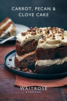 This wonderfully moist carrot cake is sandwiched together with a buttery cream cheese frosting, paired with cloves for a hint of spice. Top with chopped pecans to finish. Tap for the recipe.  Baking Recipes, Cake Recipes, Dessert Recipes, Desserts, Yummy Treats, Sweet Treats, Yummy Food, Waitrose Food, Moist Carrot Cakes