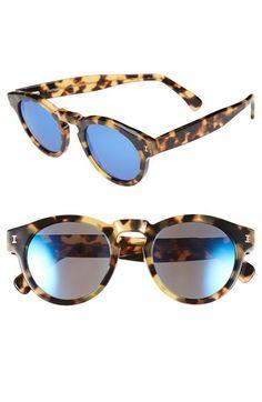 Women's Illesteva 'Leonard' 48mm Mirrored Sunglasses - Tortoise/