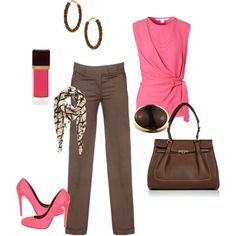 Date Pink and Brown Polyvore | Pink and brown...maybe for a day shopping with girl friends or a ...