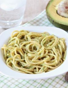 Creamy Avocado Pasta Recipe on twopeasandtheirpod.com  So easy to make and the sauce is AMAZING!