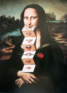 Mona Lisa, Art Print by Rafal Olbinski Photomontage, Le Sourire De Mona Lisa, Mona Lisa Parody, Mona Lisa Smile, Wow Art, Paul Gauguin, Arte Pop, Italian Artist, Magritte