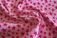 Babycord Feincord Cord Kord Stoff   Sterne Stars Himbeere Rosa Meterware