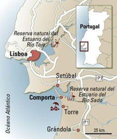 Mapa de Comporta y el estuario del Río Sado, Portugal.