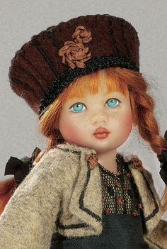 Riley City Chic BJD With Cat, Hand-Painted by Helen Kish, Kish & Company