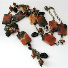 Gemstone beaded necklace fire agatge by PacificJewelryDesign