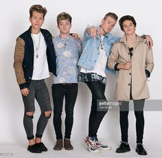 Band The Vamps (l-r, James McVey, Connor Ball, Tristan Evans, Bradley Simpson) are photographed for Word Up! on June 18, 2014 in Newark, New Jersey.