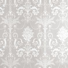 gray and white wallpaper Josette White/Dove Grey Damask Wallpaper Baroque Wallpaper, Grey Damask Wallpaper, Grey And White Wallpaper, Laura Ashley Wallpaper Grey, Grey Wallpaper Hallway, Bedroom Wallpaper Feature Wall, Grey Wallpaper Living Room, Victorian Wallpaper, Office Wallpaper
