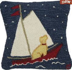 North Star Yellow Lab Hooked Pillow