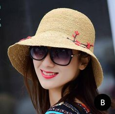 Sunflower embroidered bucket hat for women UV protection straw sun hats