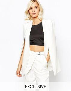 39233283fe Lavish Alice Collarless Cape Blazer ( 82) Mesh Jacket