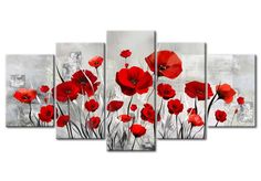 Diamond Painting Red Poppies with Tan Background 5 Panel Kit Multi Picture, Floral Wall Art, Drawing Skills, Easy Paintings, Red Poppies, Cute Art, Flower Art, Mosaic, Abstract