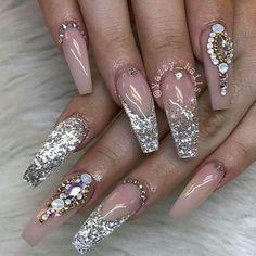 Bling wedding nails, bling nail art, bling nails, swag nails, b Bling Wedding Nails, Bling Nail Art, Bling Acrylic Nails, Glam Nails, Fancy Nails, Bling Nails, Pink Bling, Classy Nails, Red Nails
