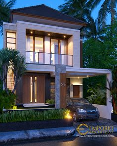Didyn Private House Design - Surabaya- Quality house design of architectural services, experienced professional Bali Villa Tropical designs from Emporio Architect. House Arch Design, 3 Storey House Design, Bungalow House Design, Villa Design, Small House Design, Modern House Design, Small Villa, Small House Exteriors, Modern Townhouse