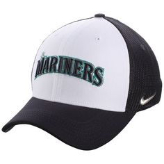 buy online 3132b e6a30 ... for nike seattle mariners white navy vapor performance swoosh flex hat  68fa4 51573 greece mens seattle mariners new era black double stripe cuffed  knit ...