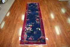 Whimsical piece in deep blues and burgundies. A genuine collectable from the 1920s. Nichols Chinese #rug #runner