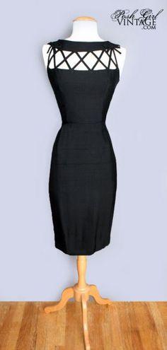 """Vintage 60's Little Black """"Trellis"""" Cocktail Dress"""