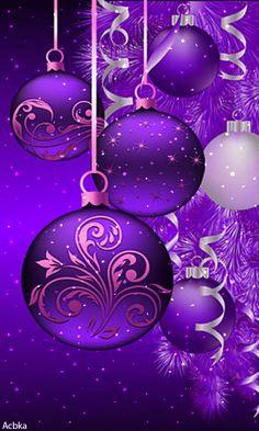 *A Purple Christmas! Christmas Scenes, Noel Christmas, Christmas Pictures, Christmas Greetings, Christmas Bulbs, Christmas Decorations, Xmas, Purple Christmas, Christmas Colors
