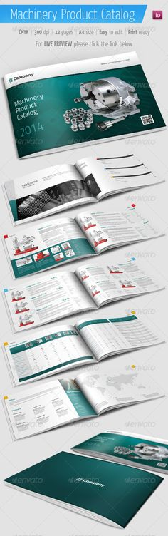 Product Catalog - Machinery Brochure - Catalogs Brochures Catalog template for any products. Features: A4 size (297×210 mm / 11.7×8.3 inch) Easy picture change in Indesign Editable texts Several layout types Vectos based elements Auto page number 5 mm bleed, ready to print Color swatches used Images, text and backgrounds are separated on different layers INDD and IDML files (CS4 compatible)
