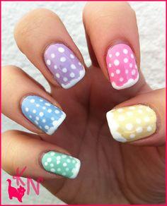 Pastel Coloured Polka Dot Nail Designs