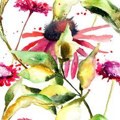 Seamless pattern con fiori stilizzati selvatici, illustrazione acquerello Archivio Fotografico