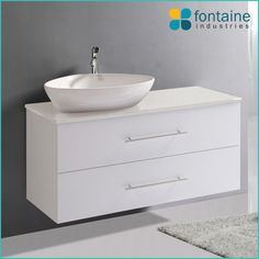 Stonehenge 1200 wall mounted bathroom vanity, deep drawers, ceramic basin and stone top | Renovation Design Ideas Affordable | Fontaine Industries |