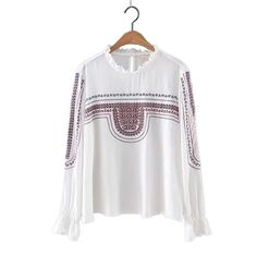 Women Geometric embroidery loose shirt long sleeve lacing collar office work wear retro blouse ladies fashion casual tops LT996