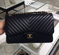 Chanel Black Chevron Flap Medium Bag