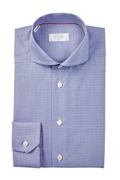 Long Sleeve Slim Fit Mini Plaid Dress Shirt