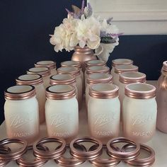 Ombre Rose Gold Mason Jar Centerpieces, Makeup Room Decor, Makeup Brush Holder, Bridal Shower Table Decorations, Rose Gold Party - Ivory and Rose Gold Mason Jar Bridal Shower Decor Makeup Wedding Shower Centerpieces, Gold Bridal Showers, Mason Jar Centerpieces, Bridal Shower Decorations, Wedding Decorations, Rose Gold Centerpiece, Wedding Ideas, Birthday Decorations, Wedding Centerpieces