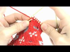 Weaving In Knit Row: Fair Isle Knitting with 2 Hands - How to Carry the Yarn Across the Row - YouTube