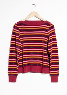 & Other Stories image 2 of Bateau Neck Top in Red Stripe Italy Outfits, Contemporary Fashion, Signature Style, Hippy, Ready To Wear, Style Inspiration, Stylish, My Style, How To Wear