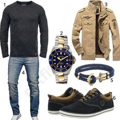 Blend Pullover, hellblauer A. Salvarini Designer-Jeans, beiger Newbestyle Übergangsjacke, Paul Hewitt Armband, Gigandet Automatikuhr und Bugatti Sneaker.