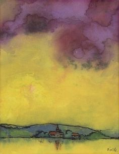 Emil Nolde (German, 1867-1956), Landscape with church , c1931.