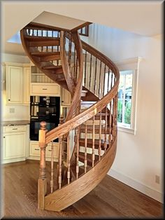Building Wooden Spiral Staircase Ideas : Red Oak Wooden Spiral Staircase