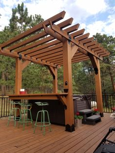 Pergola Carport Modern - - - Easy Pergola Attached To House Hot Tub Pergola, Hot Tub Deck, Building A Pergola, Deck With Pergola, Backyard Pergola, Pergola Shade, Pergola Roof, Hot Tub Bar, Covered Pergola