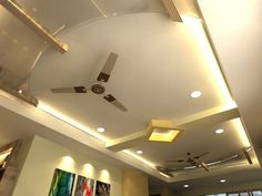 Pop Ceiling Design For Hall With 2 Fans - Wallpaperall Fall Celling Design, Fall Ceiling Designs Bedroom, Wooden Ceiling Design, Simple False Ceiling Design, Gypsum Ceiling Design, House Ceiling Design, Ceiling Design Living Room, Bedroom False Ceiling Design, Design Bedroom