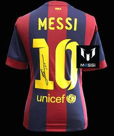 bd9620ba7 LIONEL MESSI Signed 2014-15 FC Barcelona Home Shirt Jersey ICONS